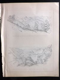 Baird 1857 Antique Print. Canyon de Guadalupe. California Mexico
